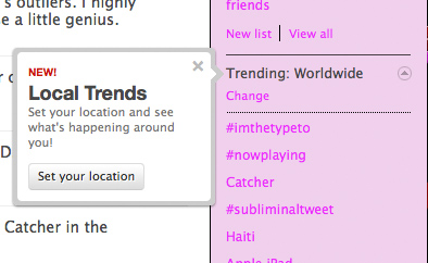 Local Trending Topics on Twitter